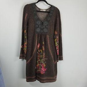 Aryeh longsleeve sweater dress XL floral brown